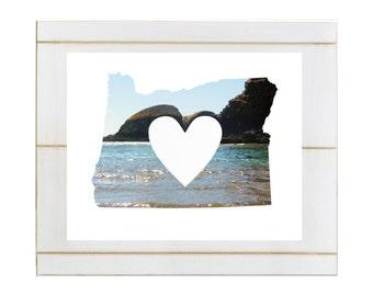 I heart Oregon printable download, portland, oregon, oregon print, I love oregon print, state print, oregon silhouette, Cannon Beach Print