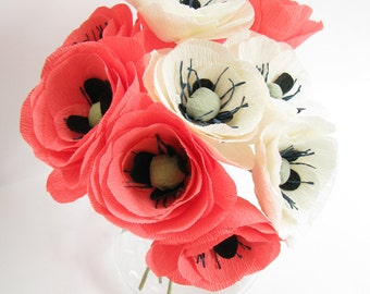 10 pcs paper poppies pink ivory, crepe paper flower