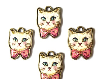 Kitty Cat with Pink Bow Tie Resin Charm 4pcs