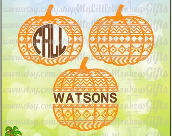 Aztec Pattern Pumpkin,  Split Pumpkin and Monogram Base Digital Clipart Instant Download SVG DXF EPS Jpeg Png