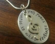 Music quote pendant necklace