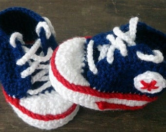 Navy Blue, Red and White Crochet Baby Booties, Baby Sneakers, Converse Style Baby Booties
