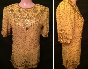 Gold beaded blouse # 965