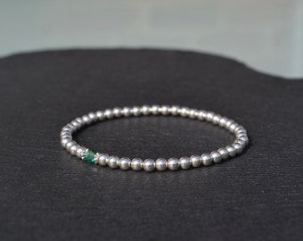 Sterling Silver and Green Swarovski Crystal Stretch Bracelet