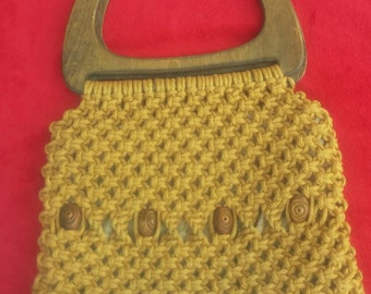 Large vintage 1970s macrame purse