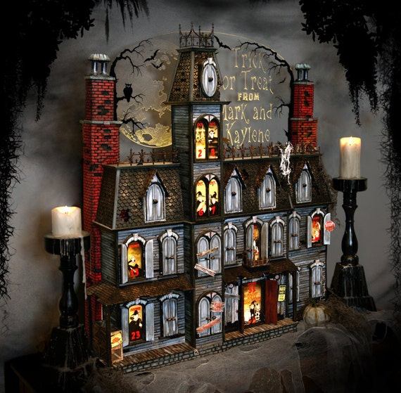 Items similar to This Halloween Advent Calendar house is hand crafted It s a spooky Victorian