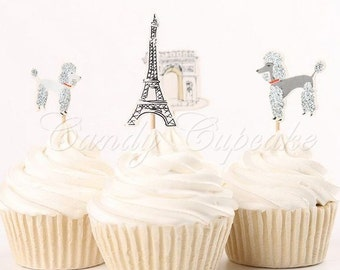 12 Paris/French Cupcake Picks,Cake, Toppers, Picks, Party Picks