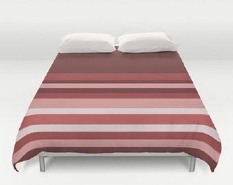 Maroon Stripes Duvet Cover Stripes Duvet Cover Shades of Red Duvet Cover Pink Stripe Duvet Cover Striped Bedding Striped Duvet Cover Pantone