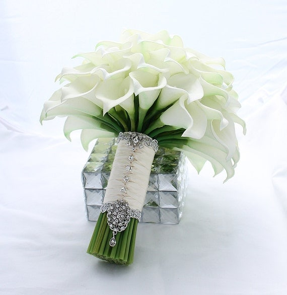 Bridal bouquet real touch creamy white mini calla lily wedding - Flowers good luck bridal bouquet ...
