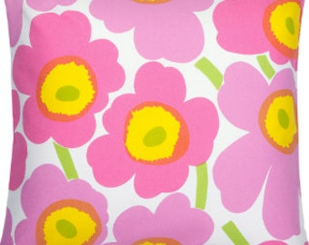 Marimekko Pink Yellow Unikko pillow case, many sizes, Maija Isola design, Finland