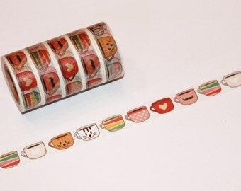 Coffee Tea Cups Washi Tape Rolls