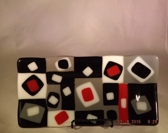 Red Checkerboard, fused glass  OOAK