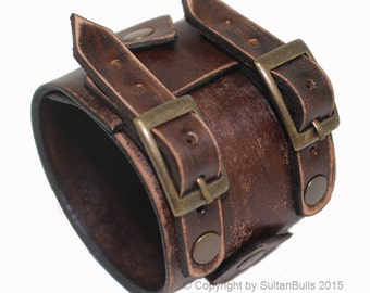 JOHNNY DEPP style leather bracelet genuine leather wristband first class leather cuff men's bracelet worn brown