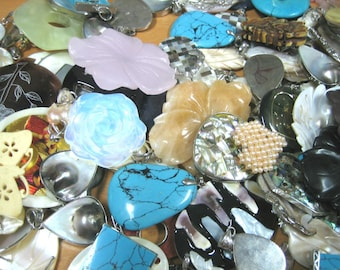 Assorted Pendants, Stone, Mother of Pearl, Abalone, Wood (6 pc)