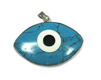 Evil Eye Howlite Turquoise Pendant (1pc)