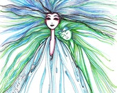 Blue Green, Angel Art, Guardian Angel, Original Illustration, Marker Drawing, Whimsical Fantasy, Unique Decor and Gifts