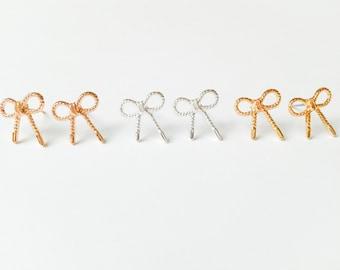 bow earrings, simple earrings, stud earrings in gold, silver or rose gold, bow, wedding earrings, bridesmaid, ribbon earring, bow studs