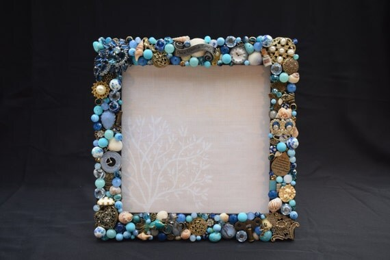 """7.5in x 7.5in """"Once Upon A Time"""" Blue and Gold Hand Decorated Picture Frame"""