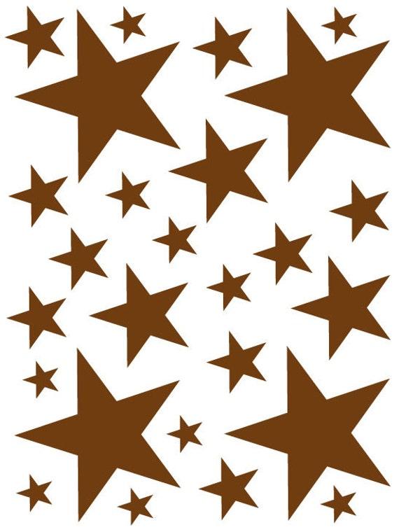 52 Dark Brown Vinyl Star Shaped Bedroom Wall Decals Stickers Teen Kids Baby Nursery Dorm Room Removable Custom Made Easy to Install