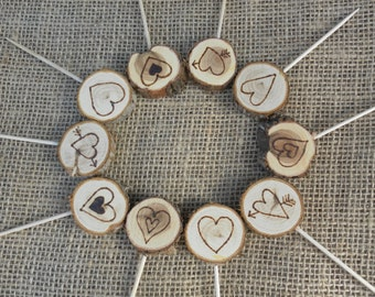 Cute Heart Cupcake Toppers~ (12) ~ Rustic Wedding Cupcake Toppers ~ Wood Slice Cupcake Toppers ~ Summer Wedding