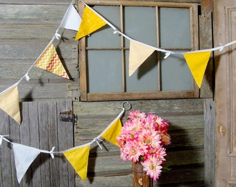 fabric garland banner baby shower backdrop garland photo prop yellow red