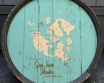 San Juan Islands, WA Map Barrel End