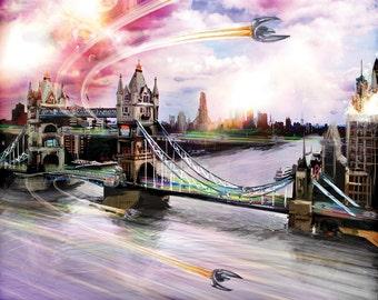 Fantasy London art,  London canvas art, fantasy art, surrealism art, futuristic art, Picture of London