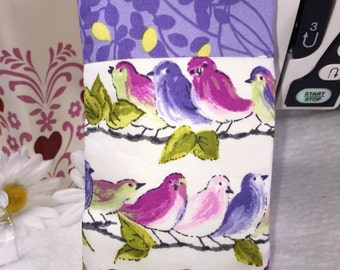 Purple Floral Songbirds Eyeglass Case, Glasses Case, Sunglass Pouch, Slip Style, Sunglasses Case, Eyeglasses Case