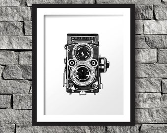 Vintage Camera Art Print, Instant Download, Digital Art Print, Wall Decor, Modern Wall Art Illustration