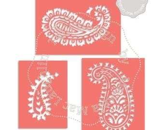 Paisley Stencil SVG Cutting Files- 3 Indian Stencils Arabesques Die Cut Files Silhouette Studio Dxf Clipart Templates Easy cut printable PDF