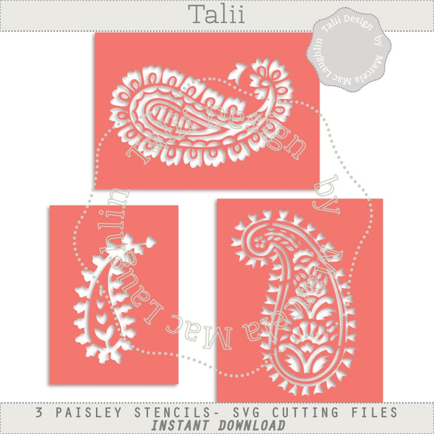 Instant Stencils Product : Paisley stencil svg cutting files indian stencils