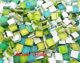 Mini Crystal Tiles 10x10mm - Green mix 400pc
