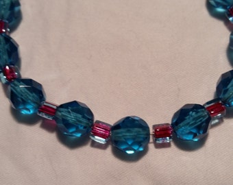 Turquoise and purple glass beaded bracelet