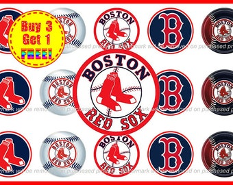 Boston Red Sox MLB Baseball Bottle Cap Images - Boston Red Sox Bows - 1 inch Bottle Cap images - Instant Download - Buy 3, Get 1 FREE!