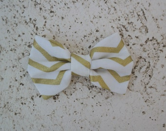 Gold chevron bow tie, clip on bowtie