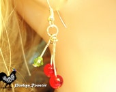 Rockabilly Earrings Cherry Earrings Nickel and Lead Free Ear Wires Handmade Gift for Her #PRE17