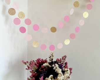 Glitter circle garland, Pink and gold garland, Gold and pink garland, Blush pink garland, Gold wedding garland, Baby shower decoration,