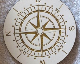 White and Gold Nautical Compass Coaster Set (4)