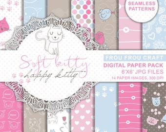 Cute Kitty Seamless Patterns Instant Download Digital Paper Pack Sweet Kittens Cats Baby White Fushcia Chocolate Brown Pink Blue 6x6 Inches