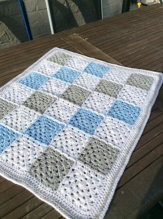 Crochet Baby Blanket Pattern Etsy : Items similar to Crochet baby boy granny square blanket ...