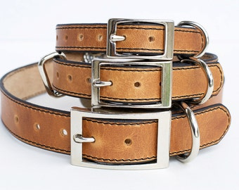 Premium Dog Collar, Leather Dog Collar, Personalized Leather Dog Collar, Horween Leather Dog Collar, Natural Leather Dog Collar