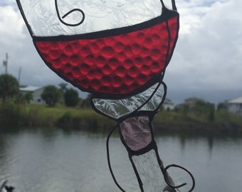 Wine Glass Stained Glass Sun Catcher