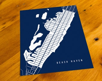 Beach Haven, NJ - Map Art Print  - Your Choice of Size & Color!