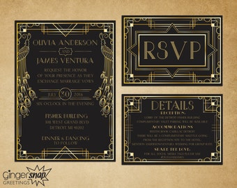 Art Deco Wedding Invitation. Great Gatsby Wedding Invitation