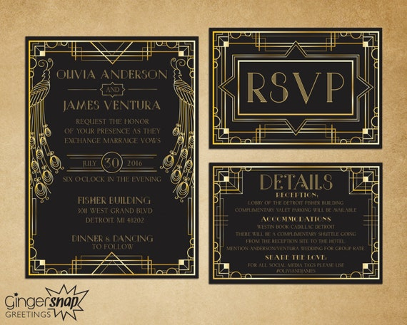 Art Deco Wedding Invitation Great Gatsby By GingersnapGreetings
