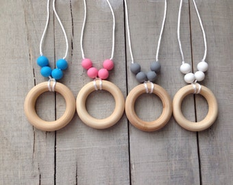 Silicone Wood Ring Teething Necklace, Silicone Beads Nursing Necklace, Organic Wood Teething Ring Necklace *choose your color*