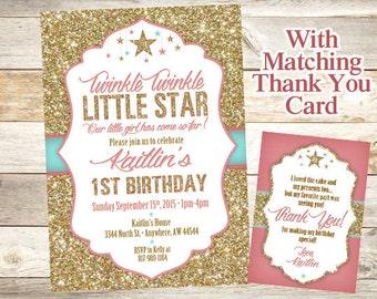 Twinkle Twinkle Little Star Birthday Invitation - Twinkle Twinkle Little Star 1st Birthday Party Invitation - Star Birthday Invitation