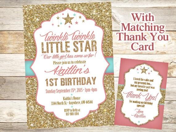 Twinkle Twinkle Little Star Birthday Invitation Twinkle