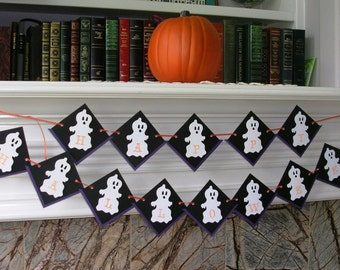 Halloween Ghost Decor - Ghost Garland - Happy Halloween Banner - Ghost Banner - Halloween Decoration