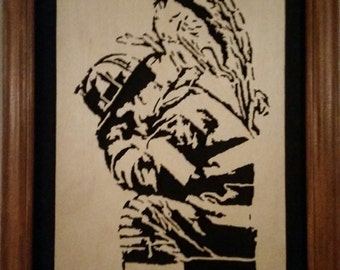 Framed Scroll Saw Firefighter with Guardian Angel on his shoulder